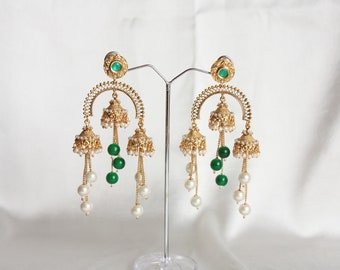 Green And White Pearl Gold Finish Chandelier Earrings /Indian Wedding Jewelry /Long Jhumki Earrings /Green Long Earrings /Bollywood Earrings