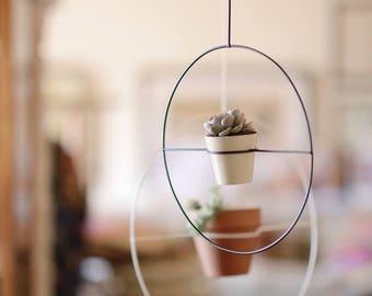 Black L metal hanging planter, metal plant hanger, indoor gardening, hanging plants, Modern Planter, Round Planters, succulent planter, boho
