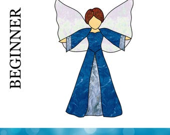 Stained Glass Angel Pattern - Easy Stained Glass Angel Design - Angel Template - Christmas Gift - Guardian Angel Pattern - DIY Stained Glass