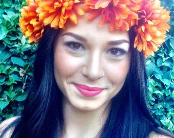 Fall Flower Power One of a Kind Bohemian Headband - Flower Crown - Halo