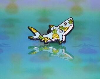 Pineapple Shark Hard Enamel Pin, Sharks, Pineapple pin, Cute