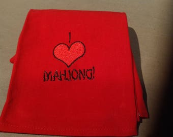 Red I LOVE Mahjong towel
