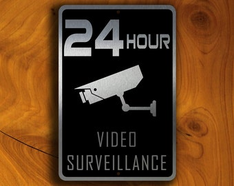 VIDEO SURVEILLANCE SIGN, 24 Hour Video Surveillance signs, Security Sign, Monitored Video Surveillance Sign, Cctv Sign, Video Surveillance
