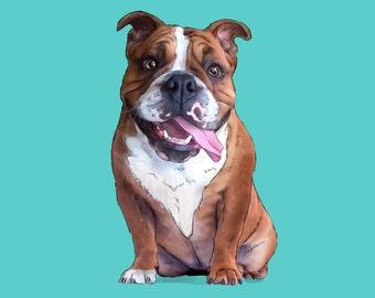 Pet Portrait, Dog portrait, Digital dog portrait, Cat portrait, Cartoon pet portrait, Pet memorial Pet loss gift, Dog illustration printable