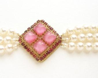 Art Deco bridal bracelet, vintage pink fushcia rhinestone Swarovski pearl bracelet, bridal pearl cuff