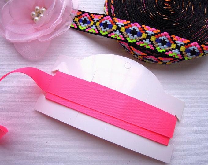 2.5 yds Hot pink 20 mm ribbon, Shocking pink ribbon for bows, Hot pink ribbon, Neon pink solid grosgrain ribbon 20mm