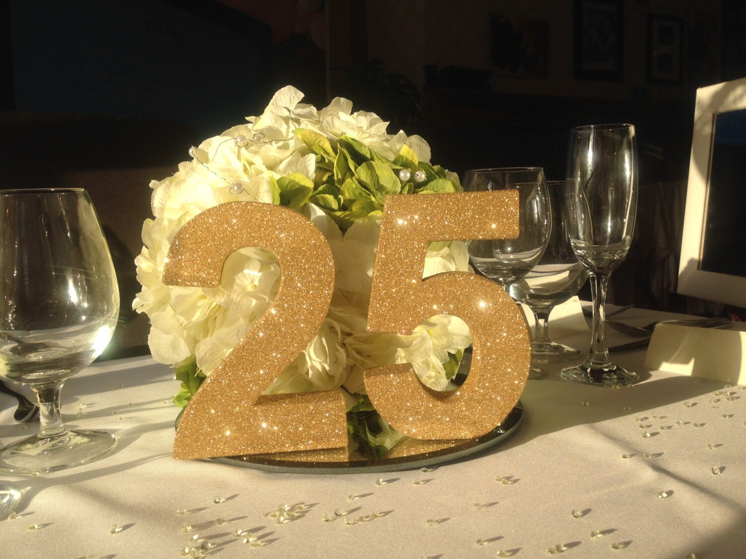 Gold glitter 25th wedding Anniversary decoration party