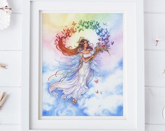 Rainbow fairy, art print watercolor, Iris flowers, butterflies, new age, illustration