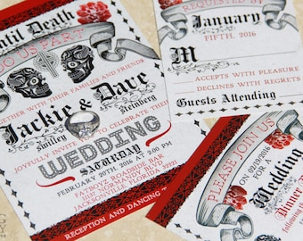 Day of the Dead Wedding Invitations,Mexican Wedding,Sugar Skulls wedding invitation,old english,black and read day of the dead,printed