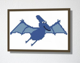 Counted Cross stitch PDF Pattern. Instant download. Pterodactyl Dinosaur. Includes easy beginners instructions.