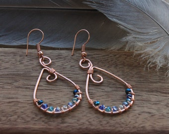 Hammered Copper Wire Earrings Wrapped Faceted Glass Blue Ombre Sparkly Beads