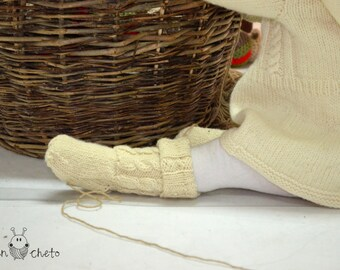 Woolen baby socks / merino wool baby socks / long red or white socks