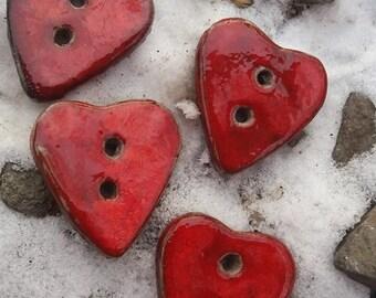Heart Buttons. Red Ceramic Buttons (4pcs) OOAK