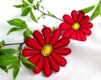 Brooch Red Gerbera. 2in1 Set. Red Flower. Textile Art Felt Brooch. Free Hand Machine Embroidery. Mother's Day Gift.