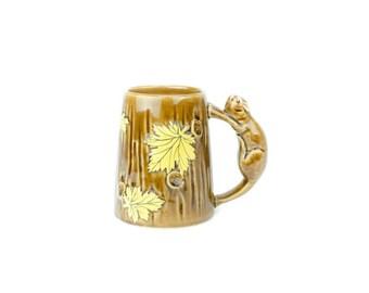 Shafford Pottery, Vintage Maple Leaf Beaver Mug, Canada Beaver Mug, Beaver Handle Mug, Ceramic Tankard Tree Mug