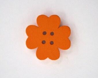 19mm x 10 flower wooden button: Orange - 001870