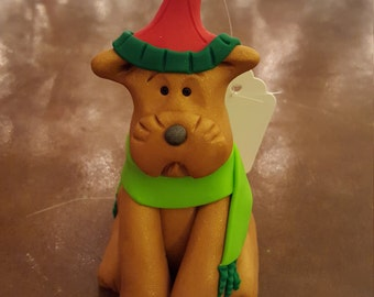 Clay Light Brown Dog Hand Sculpted Christmas Ornament