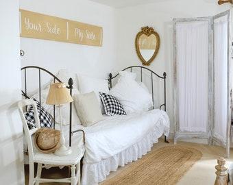 Linen Bed Skirt with Ruffle - Linen Bedding - Linen Dust Ruffle - Ruffled Bedskirt - Ruffle Bedding - French Bedding - Custom Made