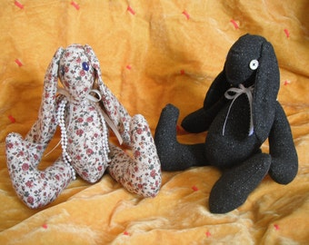 Rose Sweet Button-eyed Bunny or Blackie Bunny / soft sculpture / Fabric Bunny / Fabric Rabbit