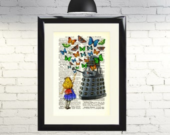 Dictionary Art Print Alice in Wonderland Dalek with Butterflies Doctor Who Framed Vintage Poster Picture Handmade  Artwork