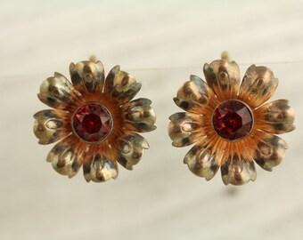 Vintage Gold Tone Sterling Silver Earrings Pink Rhinestone (ET260 )