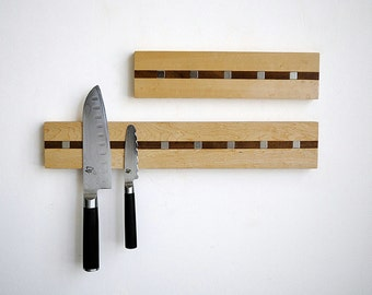 "Magnetic Knife Holder Rack, ""Rare Earth Neodymium Magnets"" Hardwood Cutlery Hanger  - CONTEMPORARY MISSION STYLE"