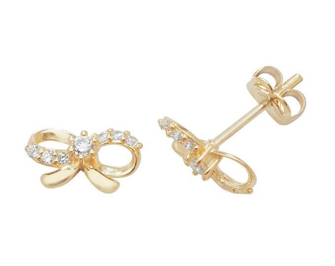 9ct Yellow Gold Pretty Ribbon Cz Bow Stud Earrings 8x4mm