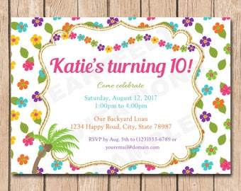 Luau Birthday Invitation | Hawaiian, Tropical, Teen, Simple, Hibiscus - 1.00 each printed
