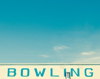 Photography Bowling alley sign vintage painted sign blue sky beach blue and white funhouse arcade seaside holiday Maine coast