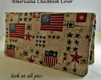 Patriotic Americana Checkbook Cover - Coupon Holder - Red White Blue USA Flags Check Book Cover - American Checkbook Cover Stars Stripes