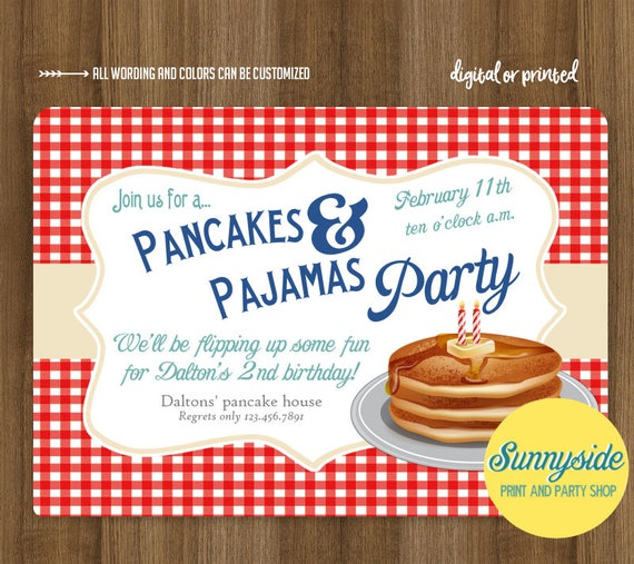 Boys pancakes and pajamas birthday party invitation breakfast filmwisefo