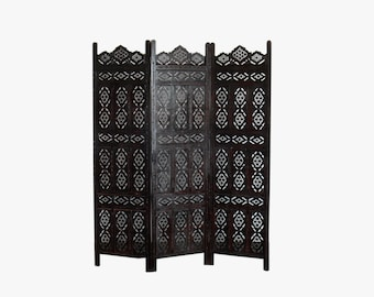 Mid Century Hand Craved Decorative Walnut 3-Panel Folding Screen // Room Divider