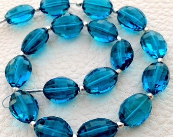 7 Inch Full Strand, Amaazing SWISS BLUE Quartz Faceted Ovals Nuggets, 9-12mm size,Finest Cut and Polished