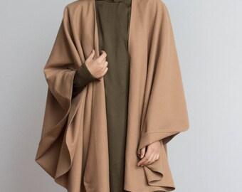 1970s Minimalist Camel Wool Cape