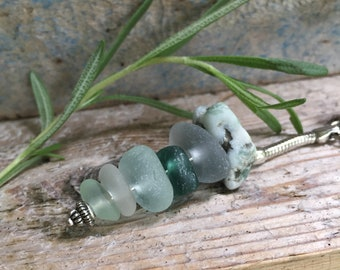 WHEELIES TO GO... cairn stacked keychain-lucky -rare grey teal aqua mineral sea glass sweetheart gift-good luck-key