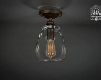 Flush Ceiling Mount | Semi-Flush | Edison Bulb Light Fixture | Oil Rubbed Bronze | Pear Shade