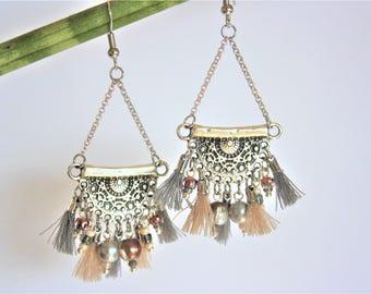 """Ethnic earrings """"Half-moon"""" beige & gray"""