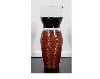 Mid Century Modern Kosta Boda Painted Glass Vase Pitcher Scandinavian