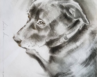 Print of Pencil Drawing. The dog. Signed.