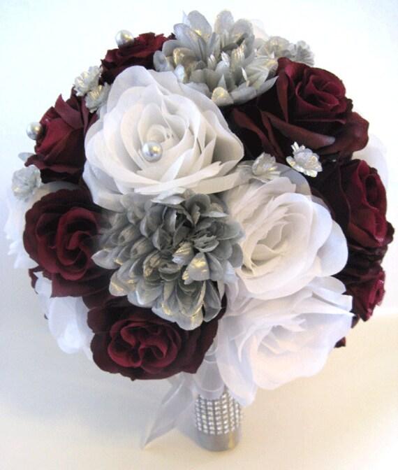 Wedding silk flowers bridal bouquet burgundy silver gray