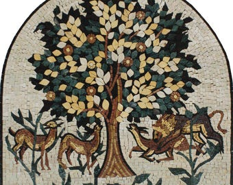 "TREE of Life ARCH SHAPE 24""x24"" Niche Art Marble Mosaic FL839"