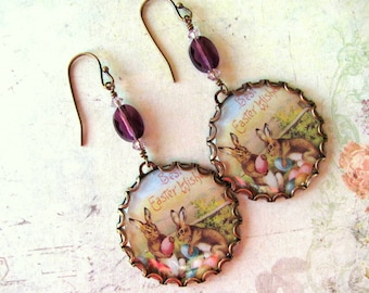 Easter Bunny Earrings, Vintage Easter, Swarovski Earrings, Easter Earrings, Holiday Earrings, Purple Earring, Easter Jewelry, Bunny Earrings