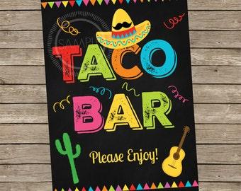 5x7 Printable Taco Bar / Fiesta / Cinco De Mayo / Nacho Bar Party Menu *INSTANT DOWNLOAD*