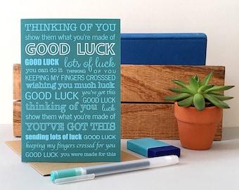 Good Luck Card - New Job Card - Exam Card - Thinking of You Card - Good Luck Greeting Card - Good Luck Notecard - Notecard - Good Luck
