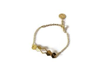 Bracelet gourmette Dans l'hexagone laiton doré à l'or fin, ou plaqué argent
