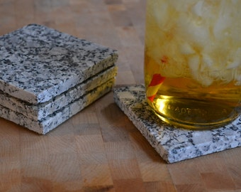 Granite Coaster Set - Maine Black and White Granite - Set of 4