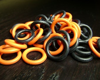 15mm Halloween Black and Orange Rubber O Ring Mix ... 50 ct.