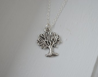 Silver Tree Charm Necklace - .925 Sterling Silver or Silver Tone Chain - Nature - Giving Tree - Family Tree