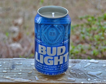 Bud Light beer CANdle made with soy wax