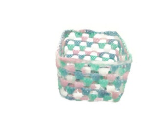 Crochet Candle Holder Variegated blue, pink, aqua and white party decor, wedding decor, baby shower or just a special gift